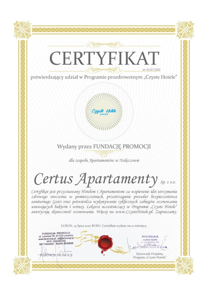 Certyfikat Czystych Apartamentów Nałęczów